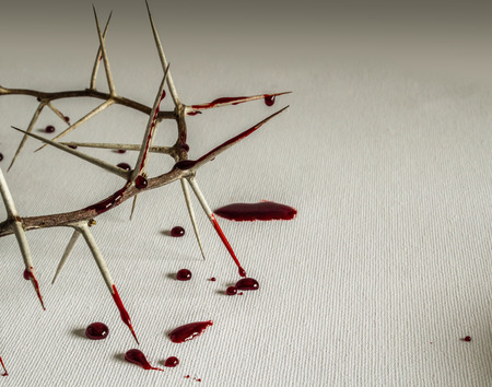 Crown of thorns with blood on canvas symbolic of Jesus Christs suffering on the cross
