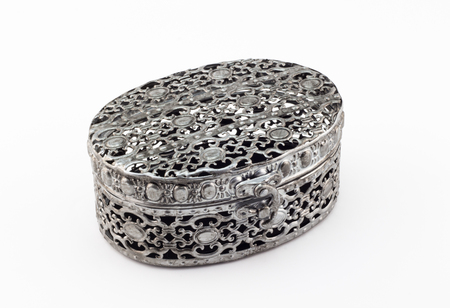 metalic: Metal carved jewelry box on white