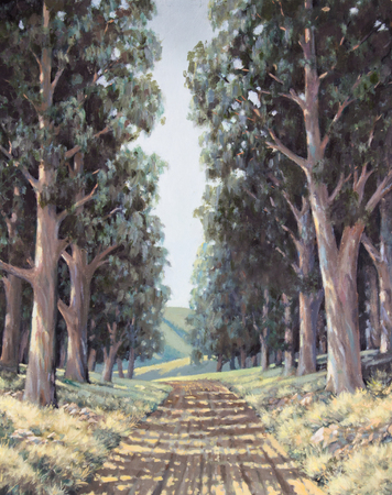 Original oil painting on canvas - Lane of sun-dappled tall eucalyptus trees next to country road in South Africa