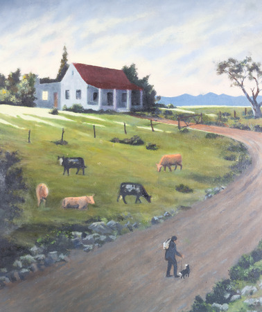 herder: Art painting of humble farm cottage at sundown with cattle herder and dog walking along country road to return home and cows grazing in meadow