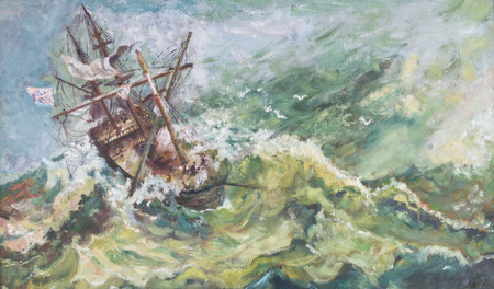 古いビンテージ海事沿岸風景は付属嵐の海の解体帆ボートの油絵 写真素材