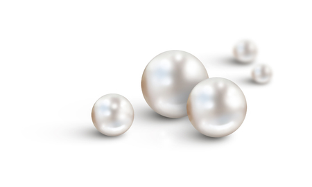 Pearl background on white - White pearls in foreground and two in background with diminishing depth of field. Space for text Banque d'images