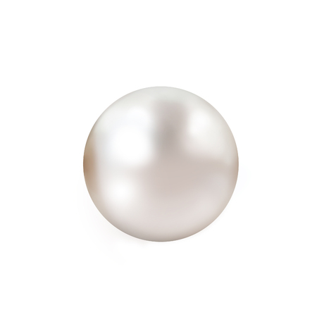 Pearl. Single lustrous pale pink pearl isolated on white background Stock Photo