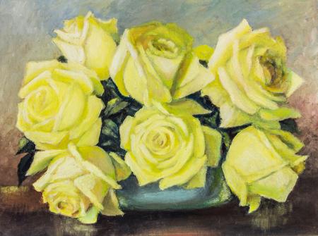 Original Oil Painting On Canvas Yellow Rose Still Life Close