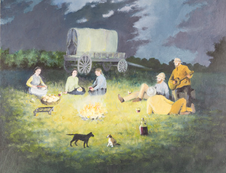 Origineel olieverfschilderij op canvas - pionierskampvuurscène met mensen die voedsel, speelgitaar, honden en overdekte westerse wagen op de achtergrond bereiden