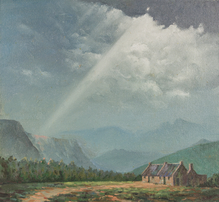 Original oil painting on canvas - Terracotta colour farm cottage with mountains in distance  and sun rays breaking through grey stormy cloud sky Stock Photo