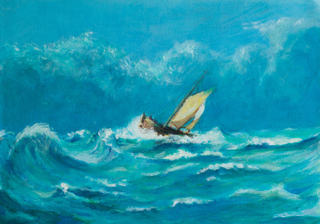 Original oil painting of lonely little sailing ship battling in a storm on the ocean Archivio Fotografico