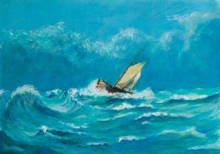 Ursprüngliches Ölgemälde des einsamen kleinen Segelschiffs, das in einem Sturm auf dem Ozean kämpft Standard-Bild