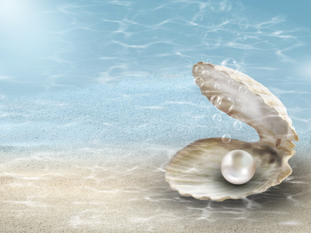 Pearl background with single nacreous pink shiny pearl in oyster shell under blue sea ocean ripples Stock Photo - 104266573