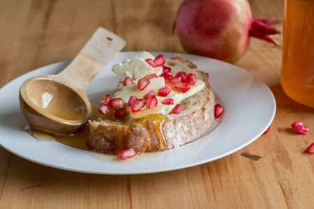 Rustic bread slice with cheese, pomegranate seeds and honey on plate close up