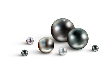 Pearl background with many small and big Tahitian black nacreous pearls of different hues isolated on white background Stock Photo