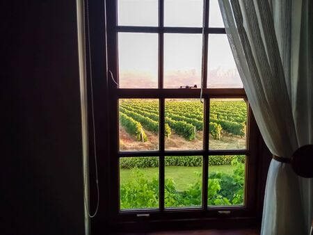 Window with curtain draped and vineyard sunset view. Interior close up window photo Stock fotó