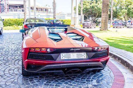 CAPE TOWN , SOUTH AFRICA - 01 JANUARY 2019: Brand new Lamborghini Aventador S parked in front of the Table Bay Hotel at V & A Waterfront in Cape Town