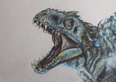 Dynosaur drawing - Face of Indominus Rex hand drawn in pastels - Scary dynosaur