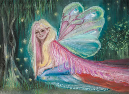 Beautiful hand drawn fairy in forest with fireflies - pastel drawing Banque d'images