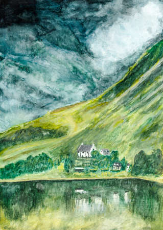 Original water colour painting of beautiful mountain house scene with reflection on lake landscape in Scotland