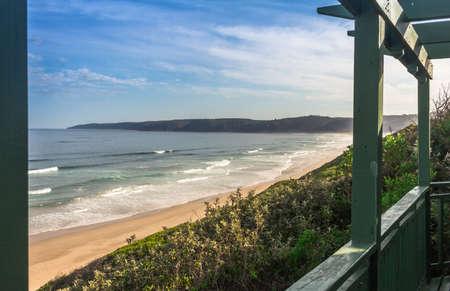 Beach seaside, Wilderness resort in South Africa with cottage verandah overlooking the ocean sea side