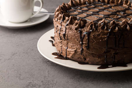 Home made chocolate cake with drizzled chocolate on grey background Banque d'images