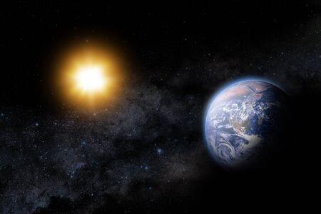 Sun and earth in space with our galaxy way as a backdrop  Фото со стока