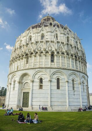 Baptistery of Pisa, Italy. Europe. It is the largest baptistery in Italy. Banque d'images - 96421961