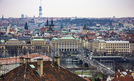 View of Prague's Historic Center from the Castle. Czech Republic, Europe