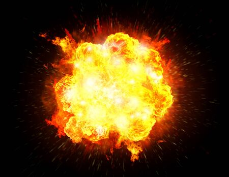 Big bright fiery explosion isolated in a black background 免版税图像