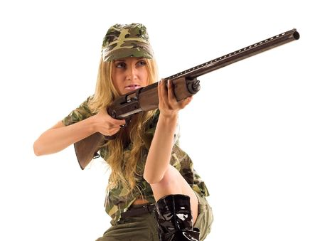 camouflage woman: Woman with gun on white isolated
