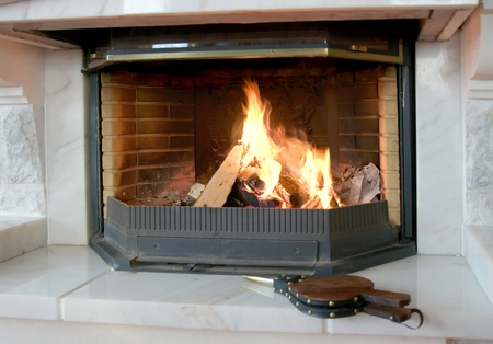 fireplace bellows: Burning fireplace and the bellows lying nearby