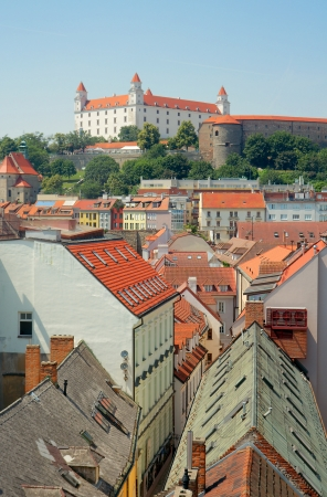 View of Bratislava Castle  founded in IXth century  and the old town from the tower of St  Michael Gate  Bratislava, Slovakia
