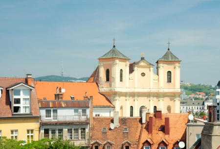 View of roofs of old town and Trinitarian Church  1717  from the tower of St  Michael Gate  Bratislava, Slovakia Stock Photo - 24061326