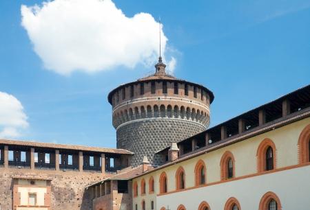 xv century: View of Corner tower from yard of Sforza Castle  Castello Sforzesco, circa XV century   Milan, Italy Editorial