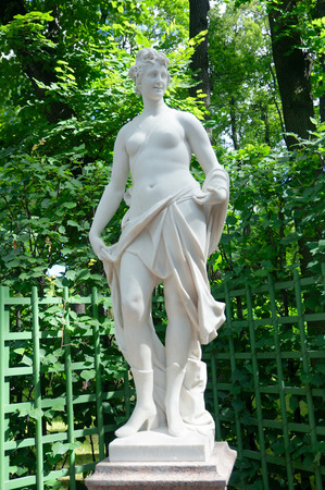 g p: Sculpture of Talia (muse of comedy, 1719 by G. and P. Gropelli), Summer Garden, Saint Petersburg, Russia Stock Photo