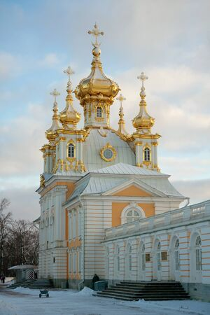 bartolomeo rastrelli: Church of the Big Palace (1745 by Francesco Bartolomeo Rastrelli) in sunset, Peterhof, Russia