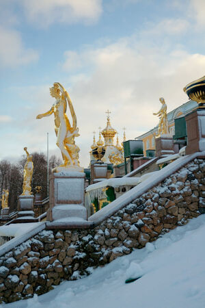 Grand Cascade in Peterhof (1721-1721) in winter. In the foreground Galatea (by Antoine-Jacques-Jean-Dominique Rachette), Russia