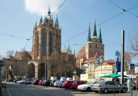 severus: Erfurt Germany  April 6 2015: St. Marys Cathedral Dom St. Marien 14th century and St. Severus Church Severikirche 12th century on Domplatz.