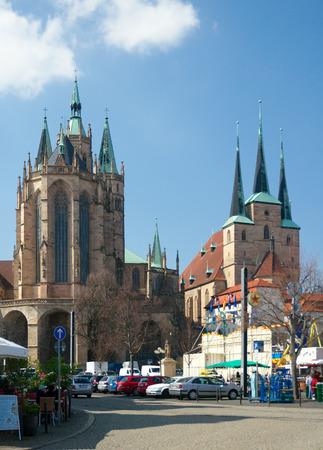 severus: Erfurt Germany  April 10 2015: St. Marys Cathedral Dom St. Marien 14th century and St. Severus Church Severikirche 12th century on Domplatz.