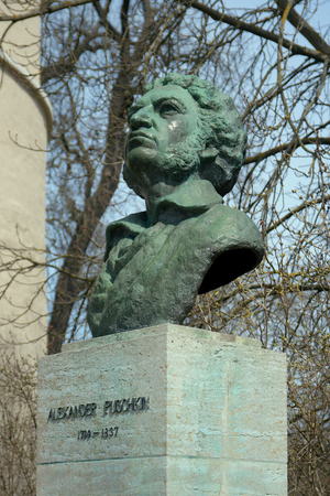 pushkin: Monument of Alexander Pushkin 1949 by Johannes Friedrich Rogge Weimar Germany Editorial