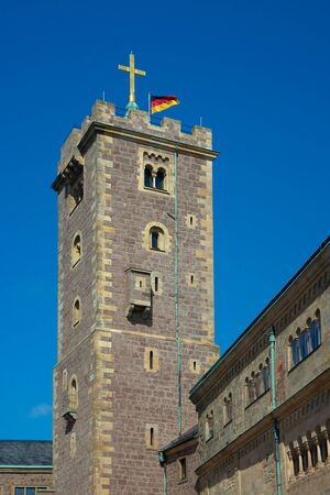 donjon: Wartburg castle 1080, bergfried donjon, was completed in 1859, Thuringia, Germany