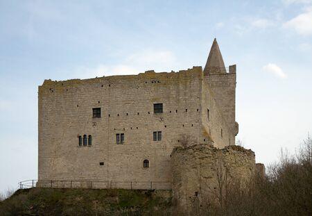 mediaval: South-western wall of Rudelsburg castle 1171, Saxony-Anhalt, Germany
