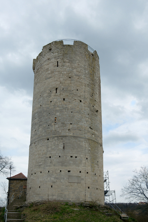 12th century: Western tower 12th century of Zaaleck fortress circa 1050, Saxony-Anhalt, Germany Editorial