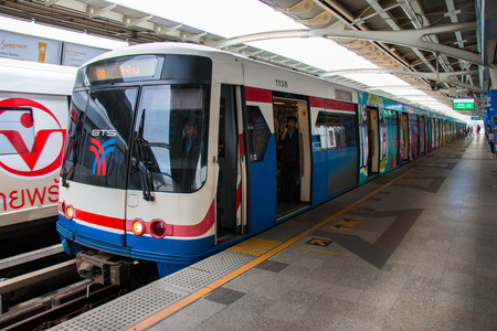 Bangkok, Thailand - APRIL 2, 2018 : Arrival and departure of BTS Skytrain at Mo-Chit station, one of the most convenient methods to travel around Bangkok.