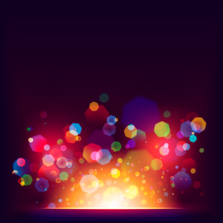 Vector heptagon bokeh colorful abstract background Illustration