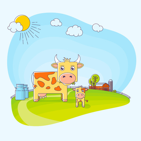 holstein: Cow farm vector illustration in flat style