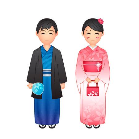 Vector illustration, woman and man wearing traditional Japanese clothing yukata on white background Illustration