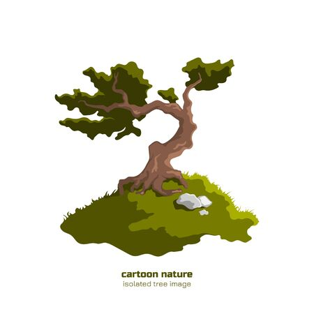 Isolated forest tree. Fantasy landscape with old oak. Bonsai in cartoon style on white background. Vector illustration