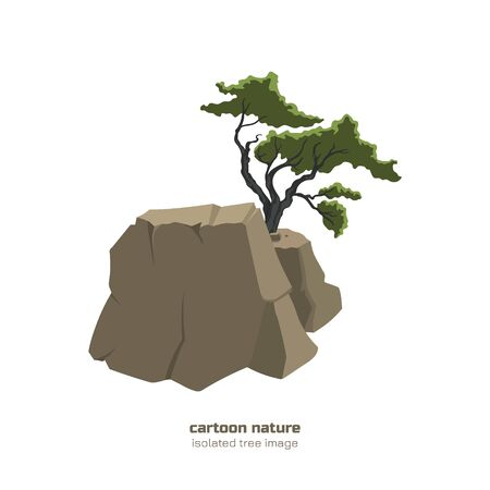 Isolated tree in mountain. Fantasy landscape with bush on rock. Bonsai in cartoon style on white background Stock Illustratie