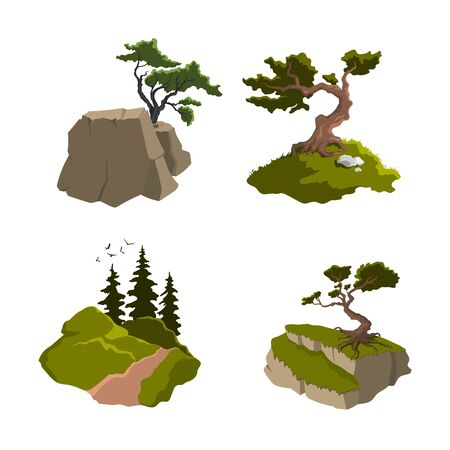 Set of Isolated trees. Nature landscape with forest plants, fir and mountains. Outdoor scene in cartoon style on white background. Natural scenery Stock Illustratie