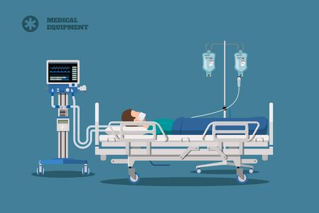 Hospital bed with ptient. Man connected to mechanical ventilation system. Medical equipment. Isolated clinic image Vektorgrafik