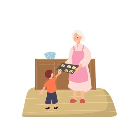 Grandmother treats grandson with cookies. Happy family scene. Smiling cartoo grandma. Isolated flat image of old woman in kitchen. Vector illustration