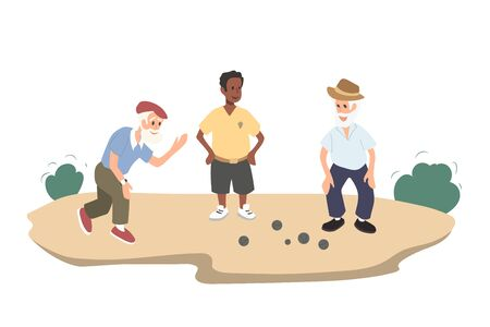 Old people gaming petanque. Grandfather play with friend. Isolated image of outdoor sport. Adult men in cartoon style